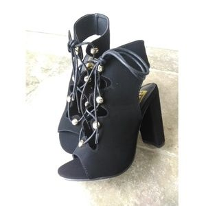 Fahrenheit Shoes - Lace up Chunky Heel Faux Suede Open toe Booties